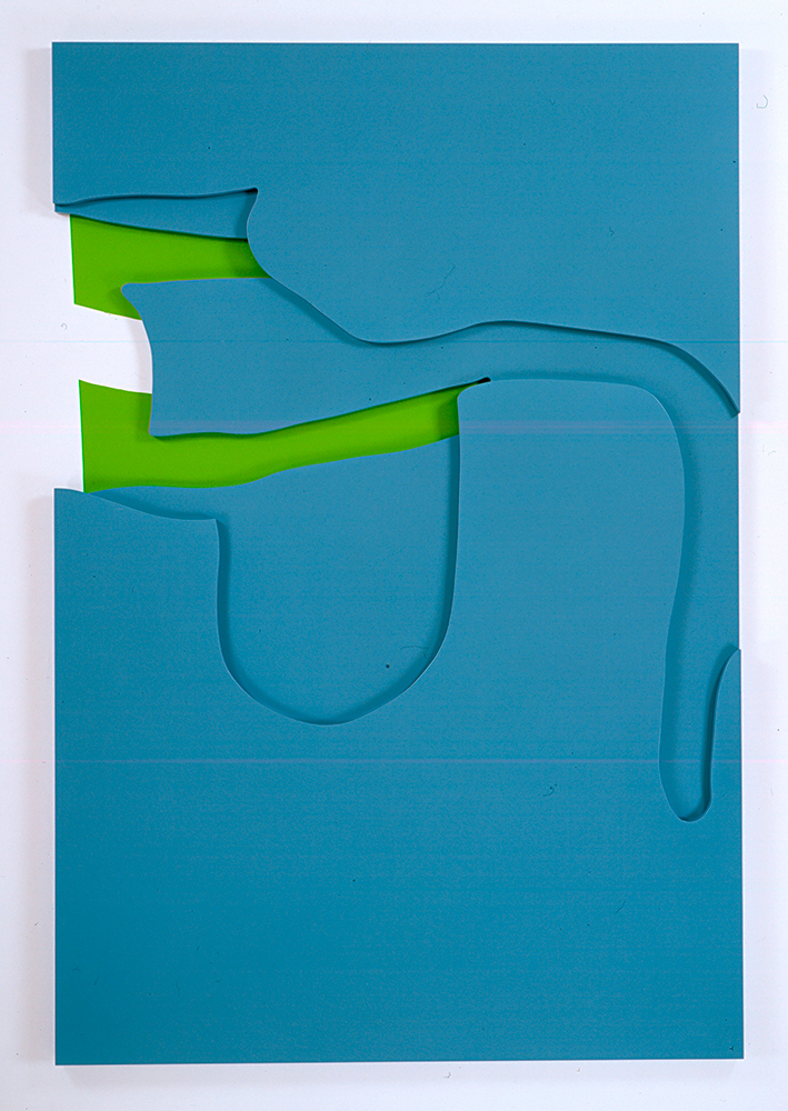 Right Back, 2006, Urethane paint on MDF panels and paint on wall, 182,9 x 122 x 3,2 cm