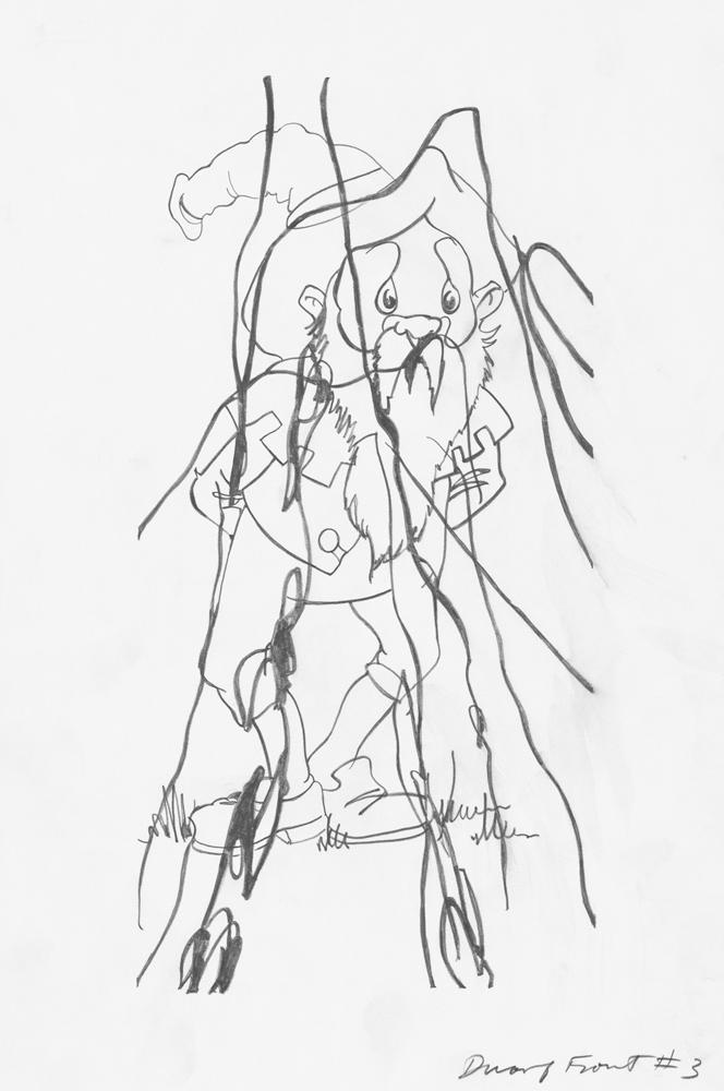 Dwarf Front #3, 2006, Graphite on paper, 42 x 28 cm